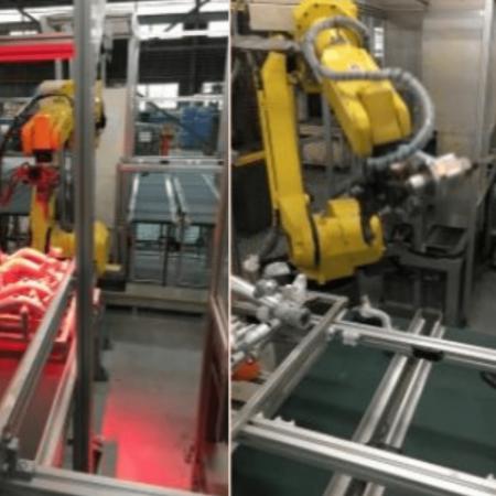 アルミ鋳造ラインの仕上げ作業にロボットを導入