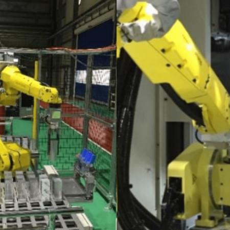 6台の加工機を同時に受け持つワークの着脱作業ロボットを導入!